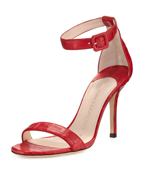 Tina Crocodile Ankle-Strap Sandal