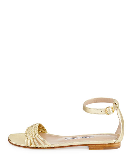 Chaflabra Woven Leather Sandal, Gold Platino