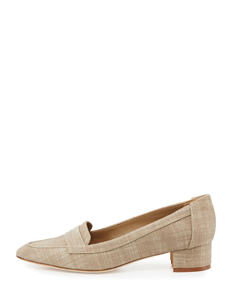 Acono Linen 30mm Loafer Pump, Taupe