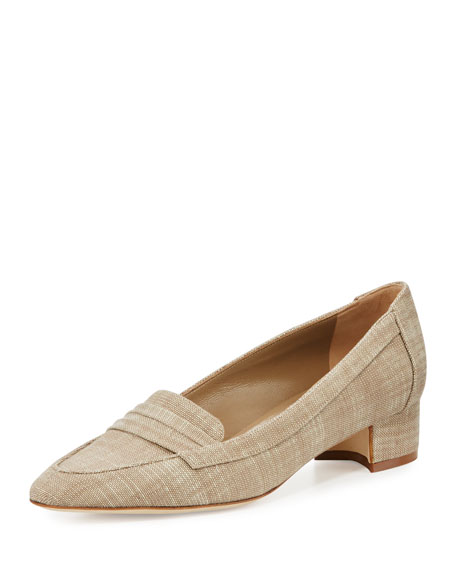 Manolo Blahnik Acono Linen 30mm Loafer Pump, Taupe