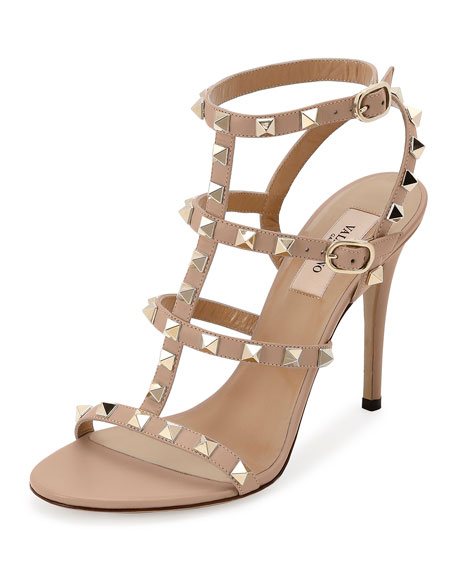 Valentino 105MM ROCKSTUD LEATHER SANDALS N8CdizfiP