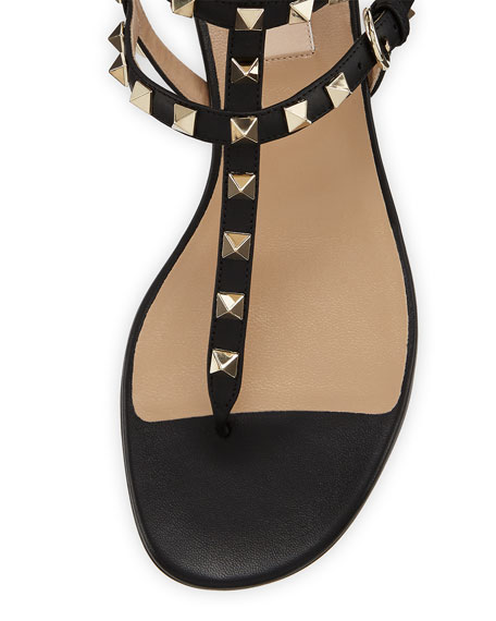 Rockstud Ankle-Wrap Flat Thong Sandal, Nero