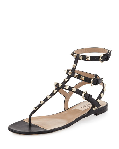 Valentino Garavani Rockstud Ankle-Wrap Flat Thong Sandal, Nero
