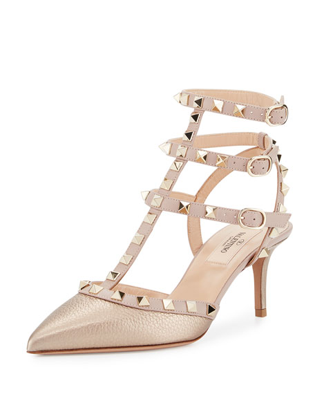 Rockstud Leather 65mm Pump, Skin/Poudre
