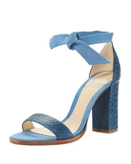 Alexandre Birman Clarita Suede & Python 90mm Sandal,