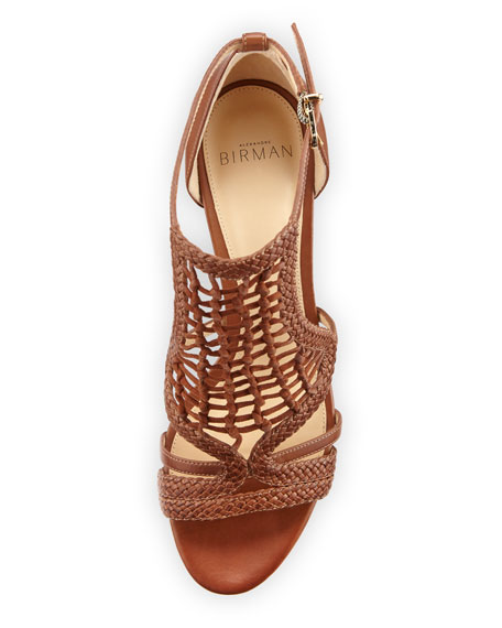 Anna Crocheted Leather Block-Heel Sandal, Whiskey