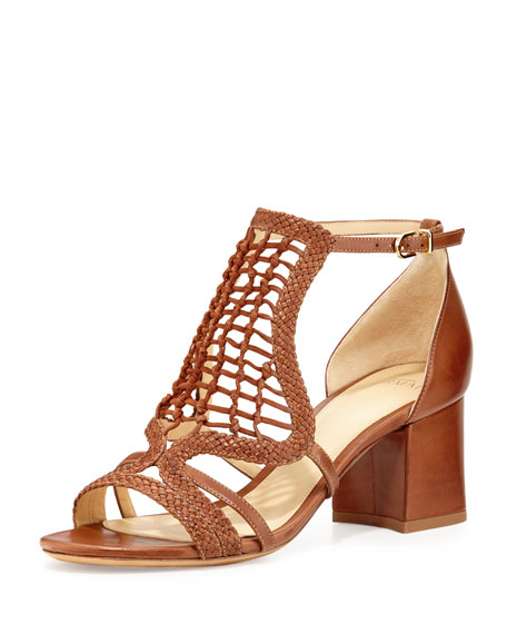 Anna Crocheted Leather Block-Heel Sandal, Whiskey