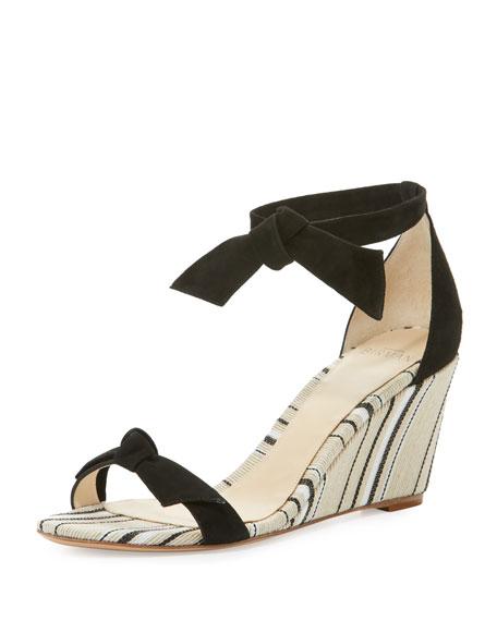 Clarita Striped Wedge Sandal, Black/Balm/Natural