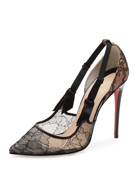 Christian Louboutin Hot Jeanbi Lace 100mm Red Sole