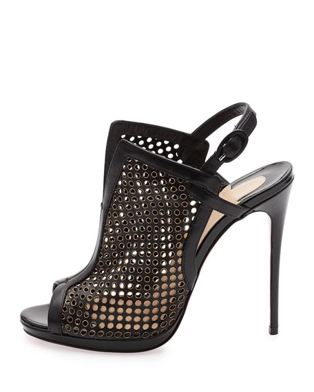 Escriminette Perforated 120mm Red Sole Bootie, Version Black