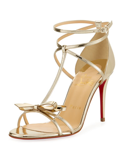 Blakissima Metallic Red Sole Sandal, Platine