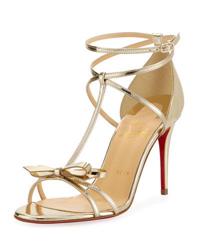 Blakissima Metallic Red Sole Sandal, Platine