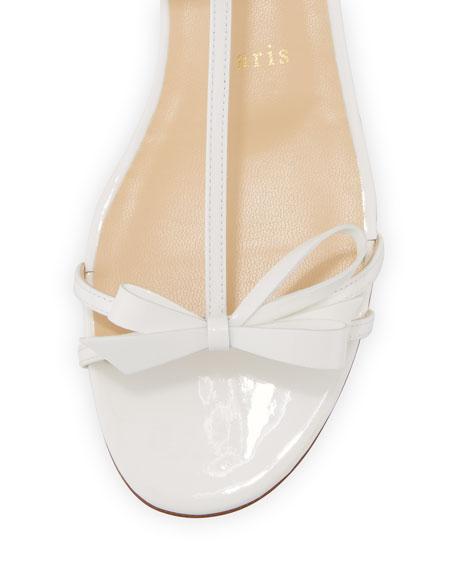 Blakissima Patent Bow Flat Red Sole Sandal, Latte