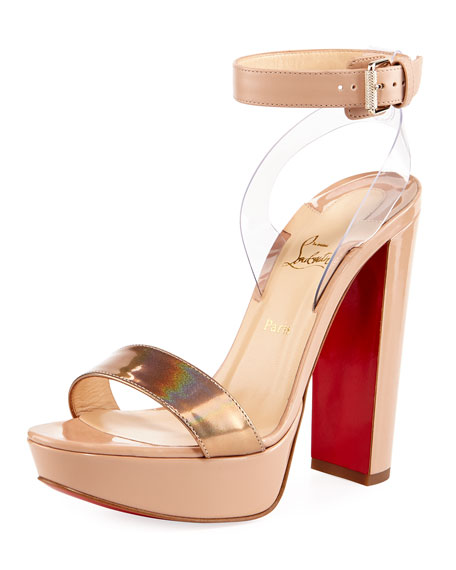 Christian Louboutin Cherry Patent Platform Red Sole Sandal