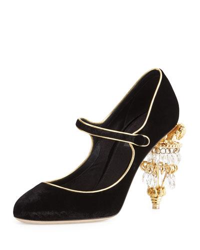 Mary Jane Pump w/Chandelier Heel, Black