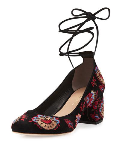 Clara Embroidered Suede Ankle-Tie Pump, Black Floral