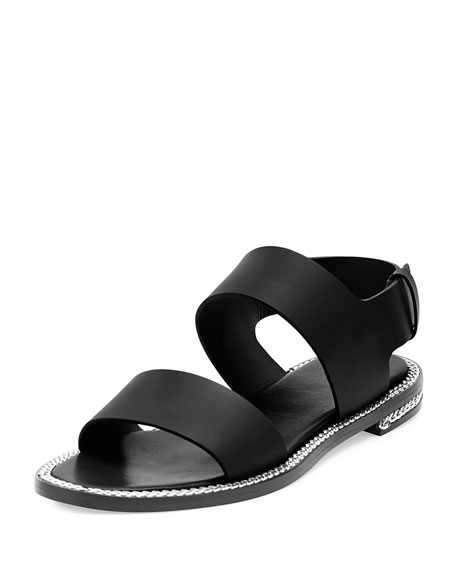 Chain-Wrapped Two-Band Sandal, Black