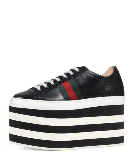 Leather platform sneakers - Black Gucci Qrk8E