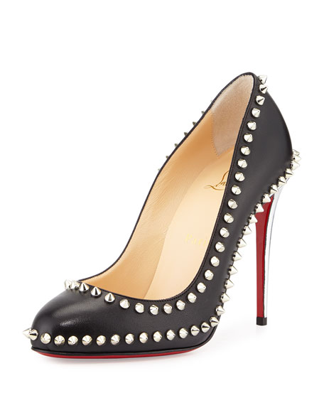 Christian Louboutin Dora Spike Leather Red Sole Pump,