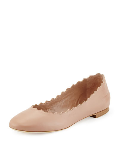 Lauren Scalloped Leather Ballerina Flat, Light Pink