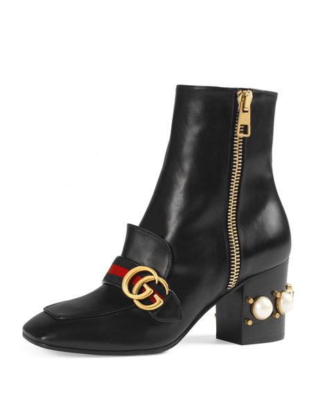 Peyton Web-Strap Leather Ankle Boot, Black