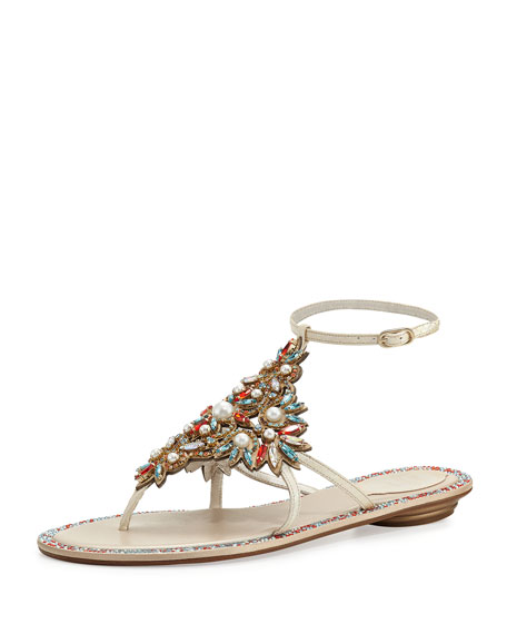 Rene Caovilla Crystal & Pearly Ankle-Wrap Thong Sandal,