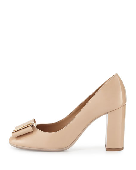Elinda Patent Bow 85mm Pump, New Bisque