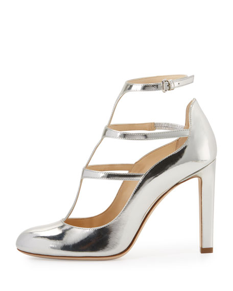 Doll Caged Leather 100mm Pump, Silver