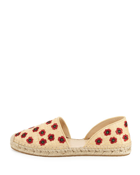 Hibiscus Embroidered d'Orsay Flat, Beige