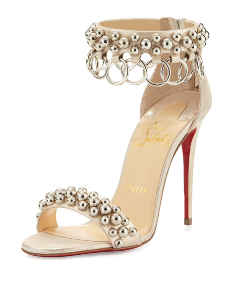 Christian Louboutin Gypsandal Ring-Trim 100mm Red Sole Sandal,