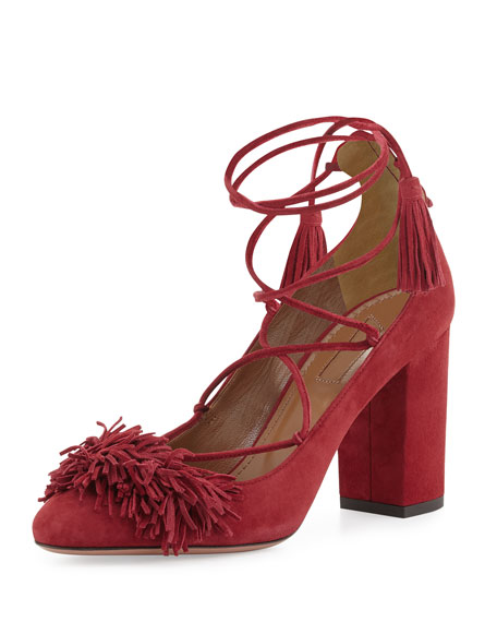 Aquazzura Wild Thing Fringe Block-Heel Pump, Pomegranate