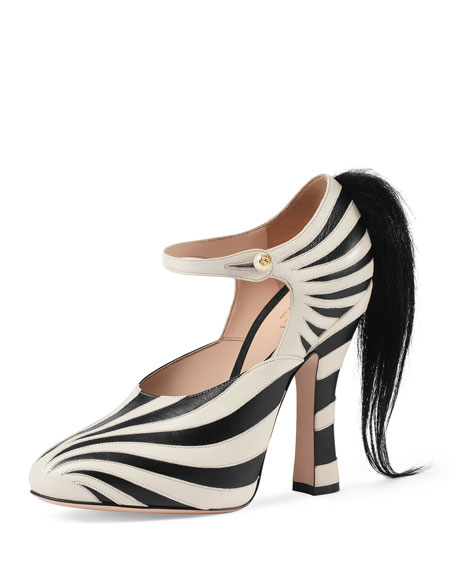 Gucci Lesley Zebra-Print Mary Jane Pump, Black/White