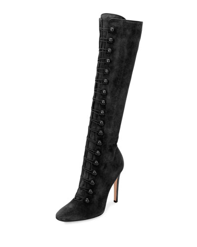 Military-Style Suede Tall Boot, Black