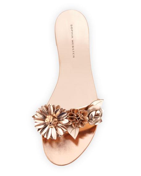Lilico Floral Flat Slide Sandal, Rose Gold