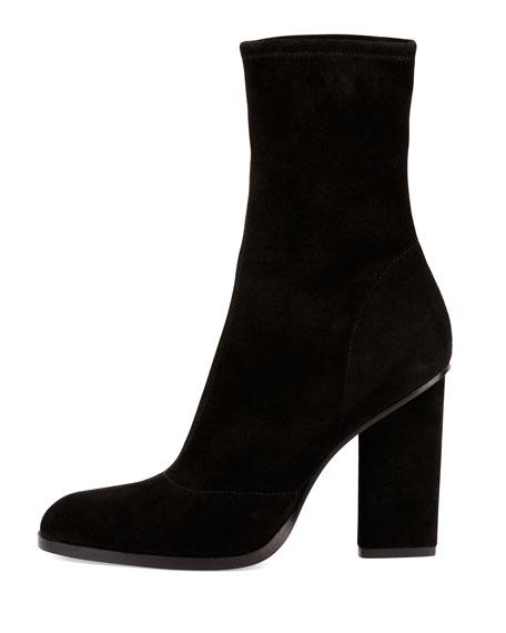Gia Stretch-Suede Block-Heel Boot, Black