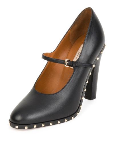 Soul Stud Rockstud Leather Mary Jane Pump, Black