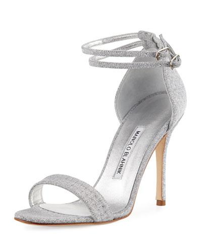 manolo blahnik silver evening shoes