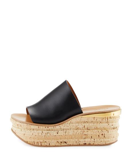 Leather Platform Sandal Slide, Black