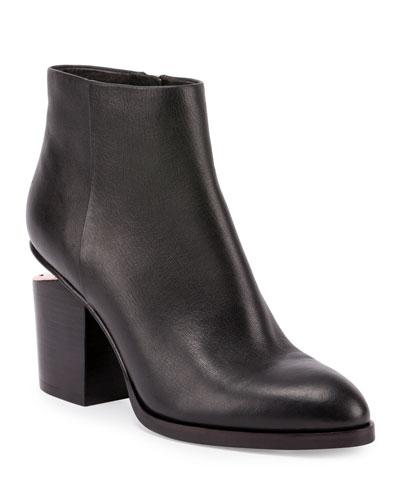 Gabi Tilt-Heel Leather Boot, Black