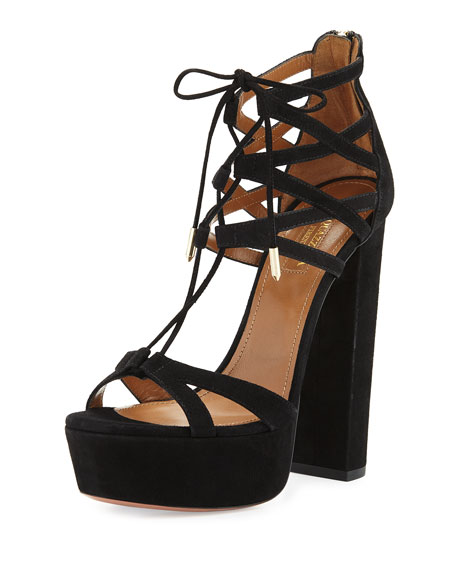 Aquazzura Beverly Hills Plateau 140mm Sandal, Black