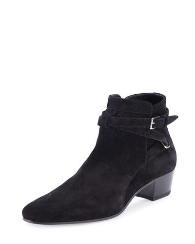 Blake Suede Ankle-Wrap Bootie, Nero