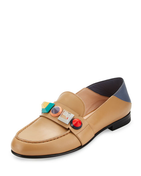 Rainbow Stud Leather Loafer, Toast/Mirto/Multi