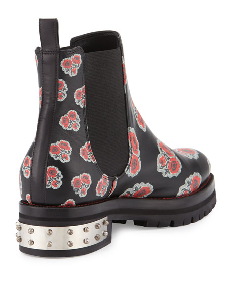 Flower-Print Leather Chelsea Boot, Black/Multi/Red