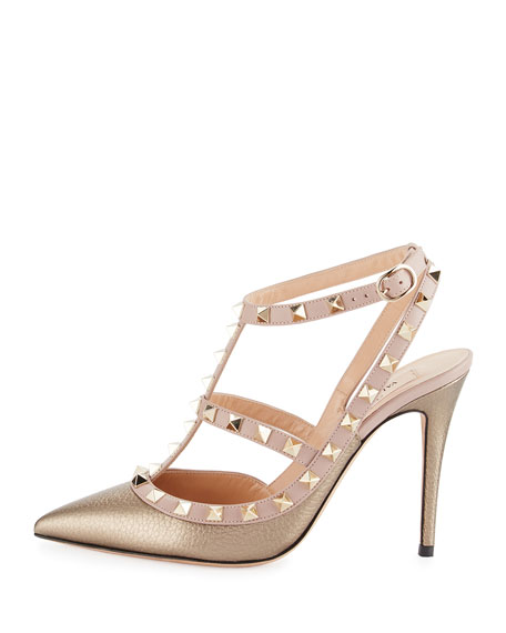 Rockstud Leather 100mm Pump, Sasso/Poudre