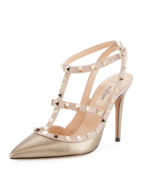 04211c21f1 Valentino Garavani Rockstud Leather 100mm Pump, Sasso/Poudre