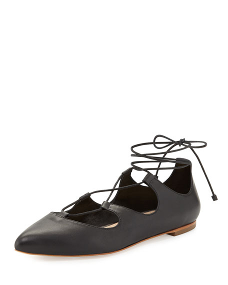 Loeffler Randall Ambra Leather Lace-Up Flat, Black