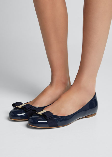 Patent Bow Ballerina Flat, Oxford Blue
