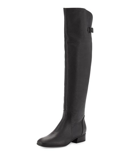 Aquatalia Lala Leather Over-the-Knee Boot, Black