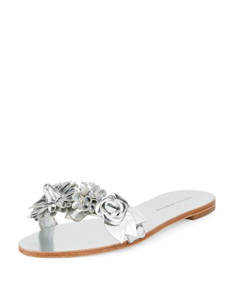 Sophia Webster Lilico Metallic Rosette Sandal Slide, Silver