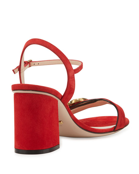 11ff4db7f52 Gucci Marmont Suede Block-Heel Sandal